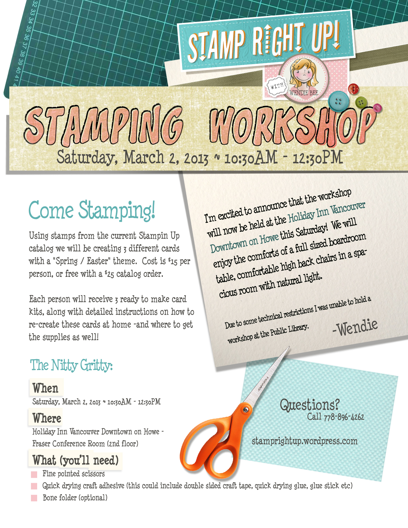 Stamprightup Work Shop – March 2nd Vancouver, BC