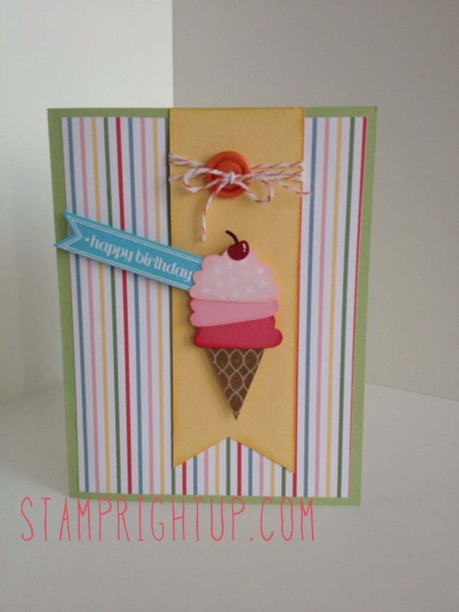 Stampin Up Ice Cream birthday card made with Cupcake builder punch & pennant parade punch