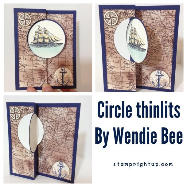 Stampin Up Open Sea Circle Thinlit swing flip it card