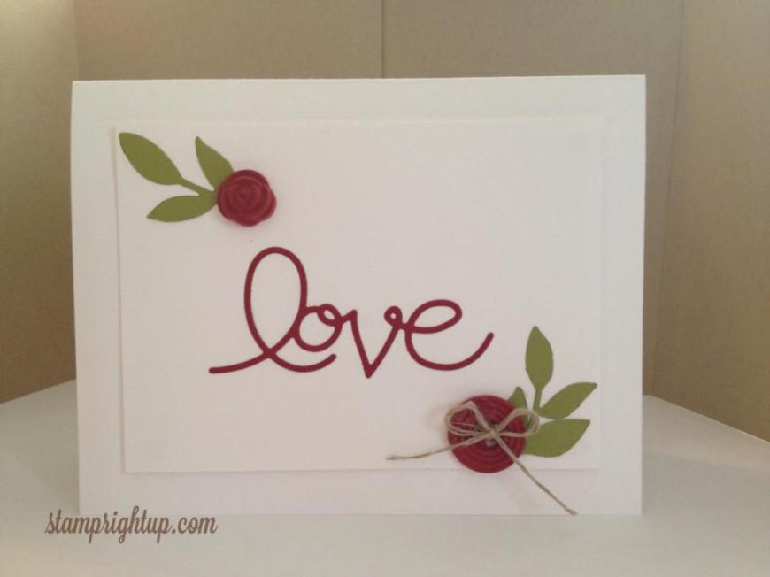 Stampin Up Expressions Love Thinlit card using simply pressed clay rose and buttons in Cherry Cobbler