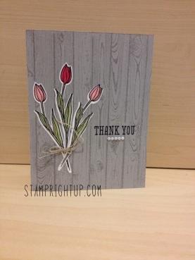 Backyard Basics Tulips & new Hardwood background stamp