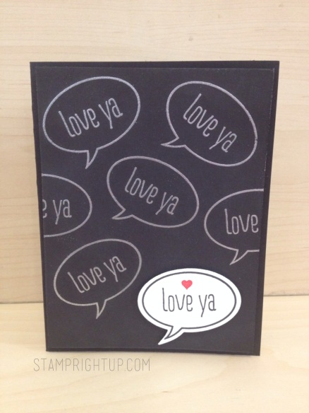 Just Sayin Stampin Up 'Love Ya' Word Bubble card Stampin Up Convention Swap by Wendie Bee