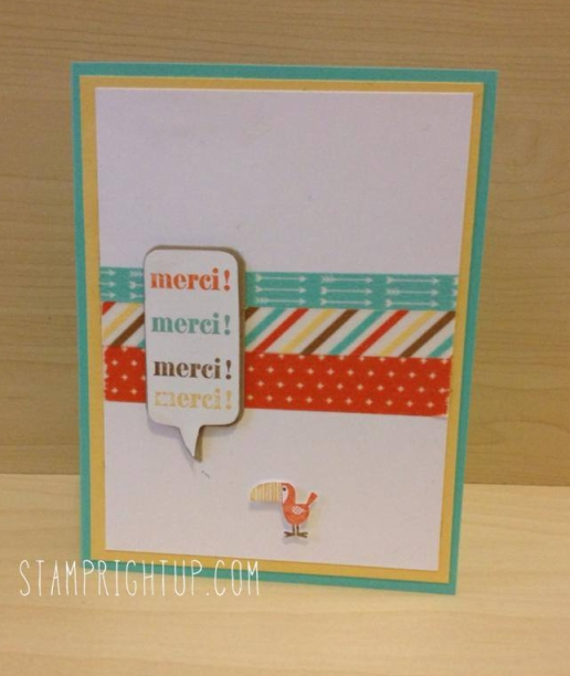 Stampin Up  retro fresh washi tape Merci / Thank You card by Montreal Demonstrator Wendie Bee
