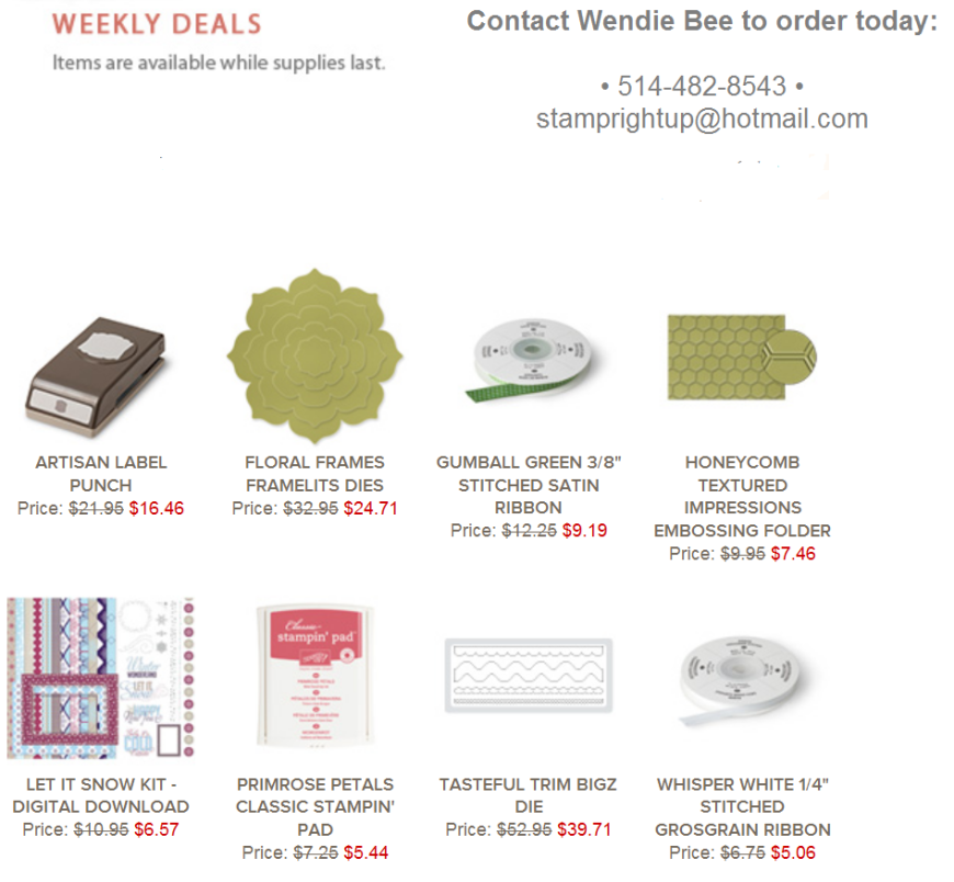 Stampin Up Weekly Deals - FEB 11 - 18 - Wendie Bee Montreal Demonstrator