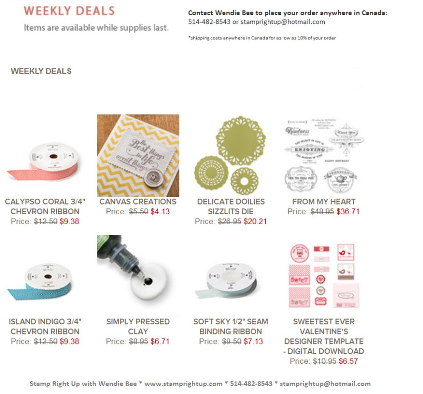 Stampin Up Weekly Deals Feb 4 - 11