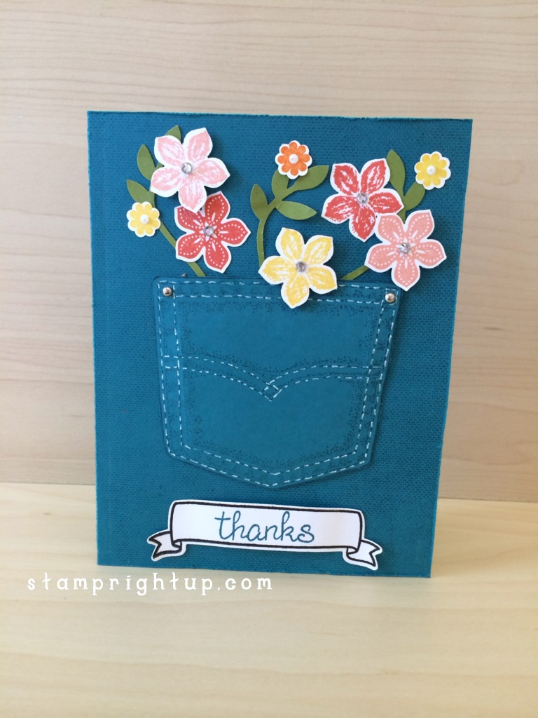 Stampin Up Petite Petals in Denim Pocket by Wendie Bee Stamp Right Up