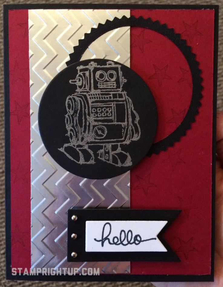 Stamp Right Up Boys will be Boys Stampin Up robot masculine card