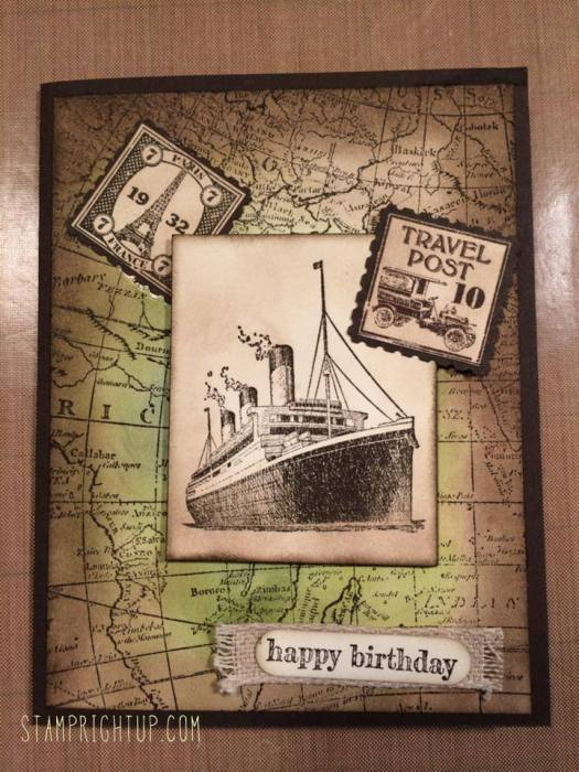 Stampin Up Traveler,  World Map & Postage Due Masculine Birthday Card by Wendie Bee