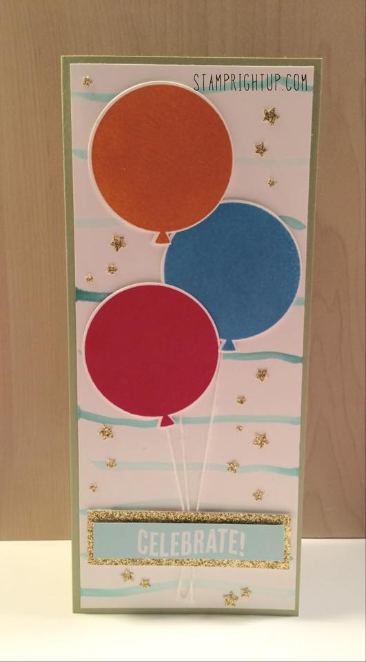 Stampin Up Celebrate Today XL Balloon card with video tutorial by Wendie Bee of Stamp Right Up