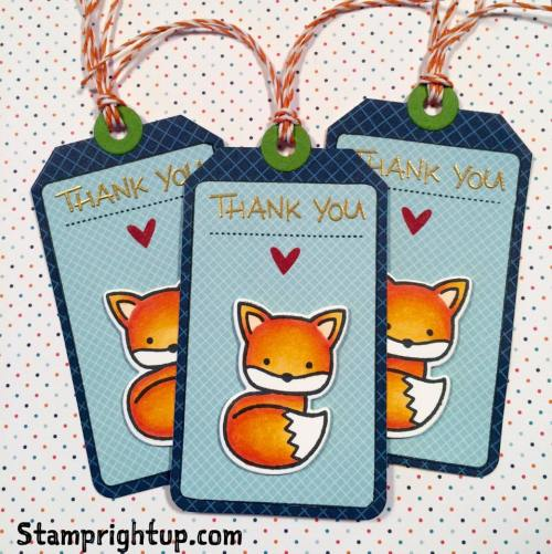 Lawn Fawn Thank You Tags Into The Woods Fox Stamp Right Up Wendie Bee