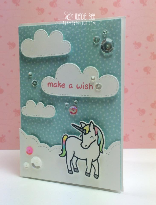 Lawn Fawn Critters Ever After Unicorn in Puffy Clouds by Wendie Bee of Stamp Right Up