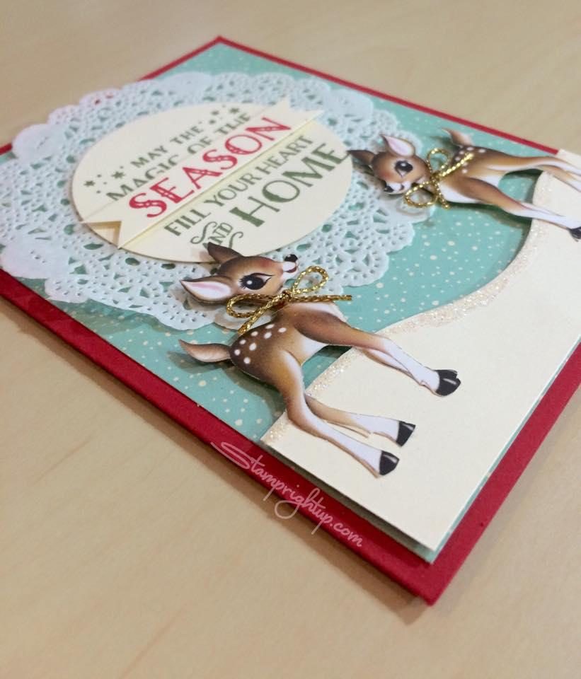Home For Christmas Card featuring Stampin Up DSP created by Wendie Bee of  Stamp Right Up