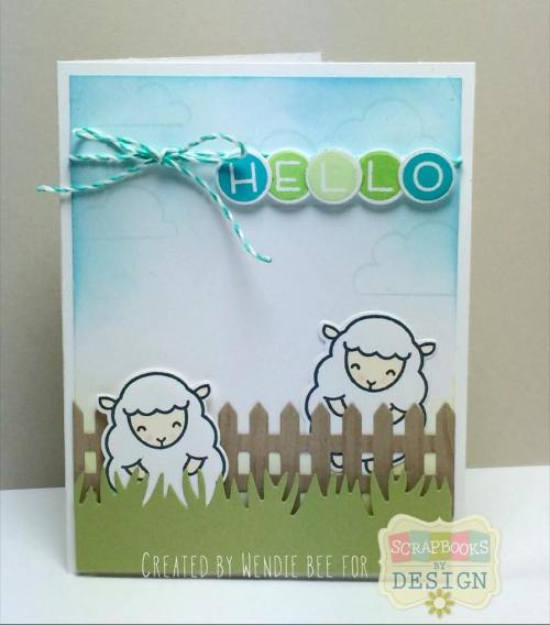 Lawn Fawn Baaah Humbug Hello Ewe design team post for Scrapbooks By Design created by Wendie Bee