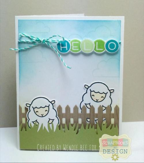 Lawn Fawn Baaah Humbug Hello Ewe design team post for Scrapbooks By Design created by Wendie Bee