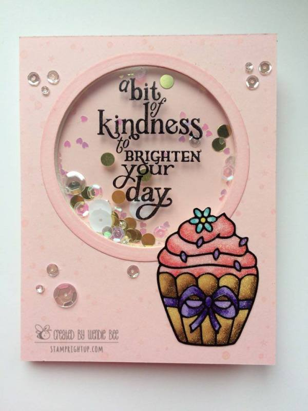 Share Handmade Kindness Cupcake Shaker Card Hero Arts Wendie Bee Stamp Right Up