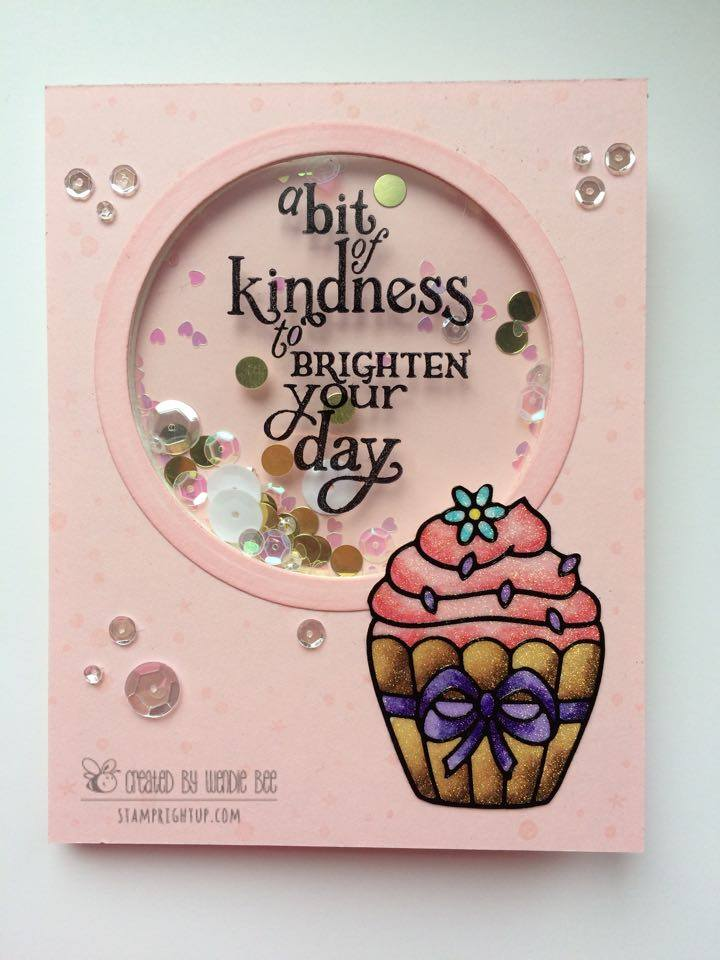 Share Handmade Kindness Cupcake Shaker Card Hero Arts Wendie Bee Stamp Right Up