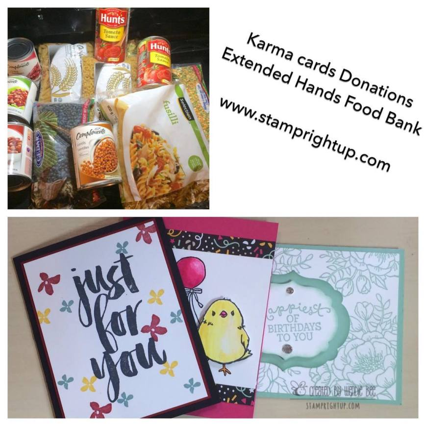 Karma Cards Charity Workshop hosted by Wendie Bee of Stamp Right Up for Extended Hands Food Bank