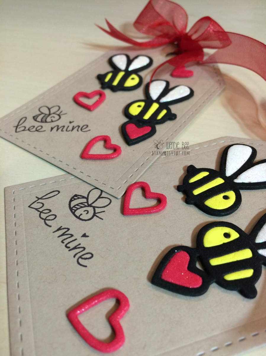 Paper Smooches Lawn Fawn Bee Mine Valentine's Day Candy Tag Pouch by Wendie Bee of Stamp Right Up