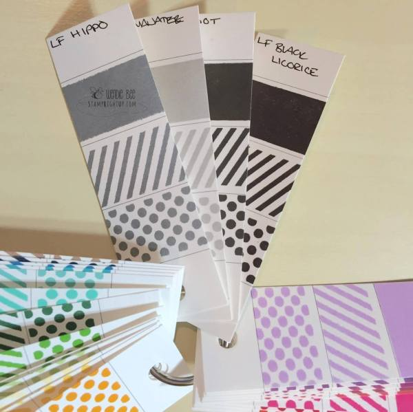 Lawn Fawn Dye Ink Pad Greys Neutrals Collection Swatches Review Manatee Hippo Soot Black Licorice_Wendie Bee_Stamp Right Up_Canada