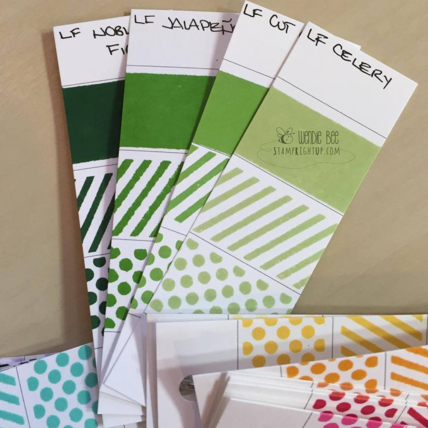 Lawn Fawn Dye Ink Pad Swatches Review Greens Collection Celery Cut Grass Jalapeno Noble Fir_Wendie Bee_Stamp Right Up_Canada