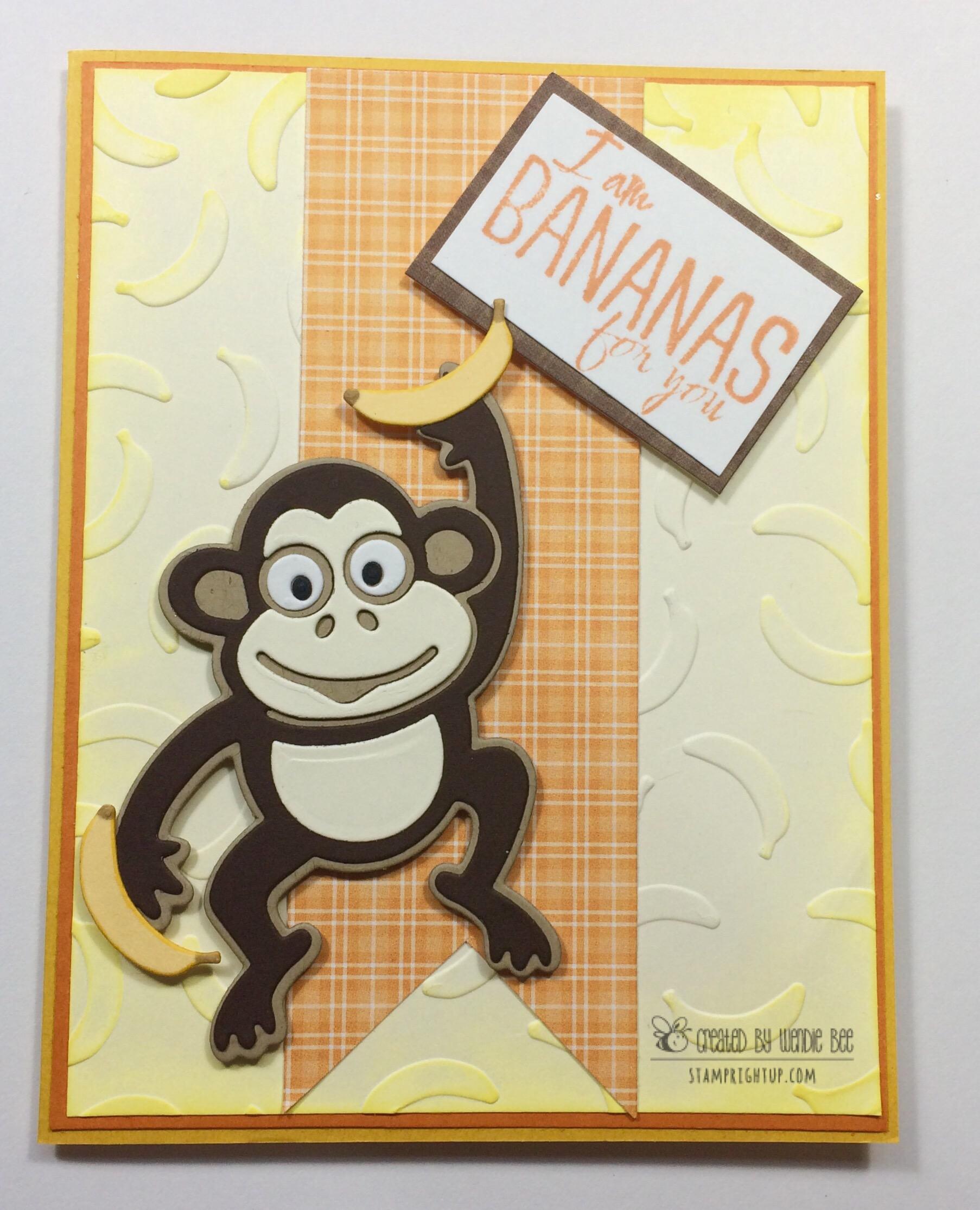 Elizabeth Craft Designs JINKS THE MONKEY card Wendie Bee Stamp Right Up