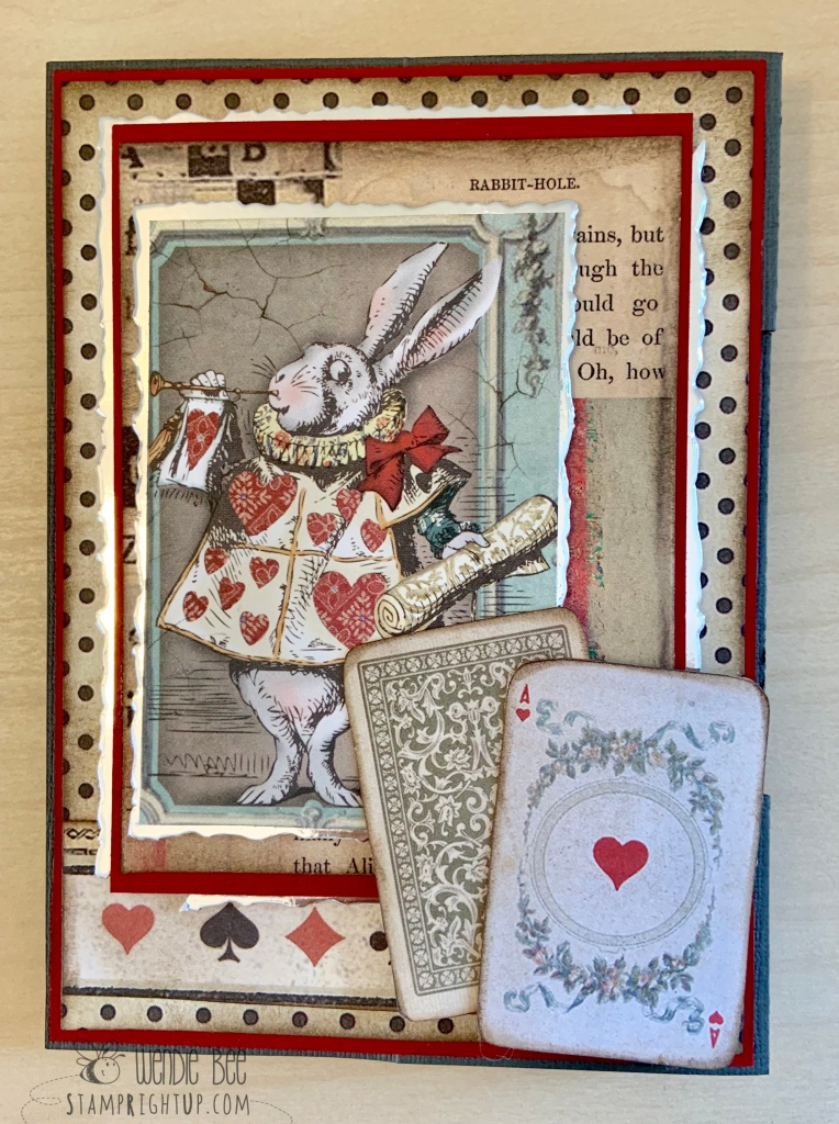 Stamperia Alice Collection Double Z Fold Card by Wendie Bee Stamp Right Up